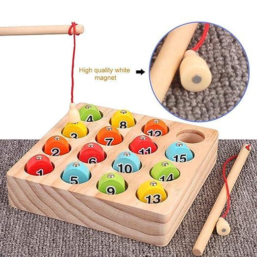 atteryhui - Juego de pesca magnético de madera para niños pequeños ...