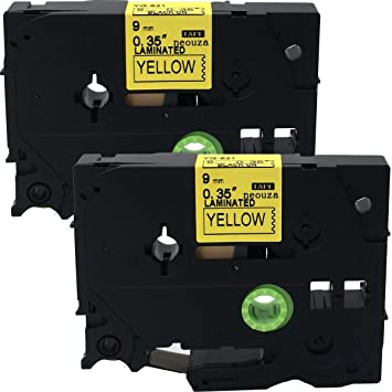 6 PK Black on Yellow Label Tape For Brother TZe-621 TZ-621 PT-310 P-touch 9mm 8m