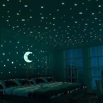 D/écor de Plafond Fluorescent pour Chambres Denfants Meloive Stickers /étoil/és Muraux Lumineux 532 Pi/èces Adh/ésives et un Sticker D/'/étoile Lumineux Chambres de B/éb/és ou Des F/êtes