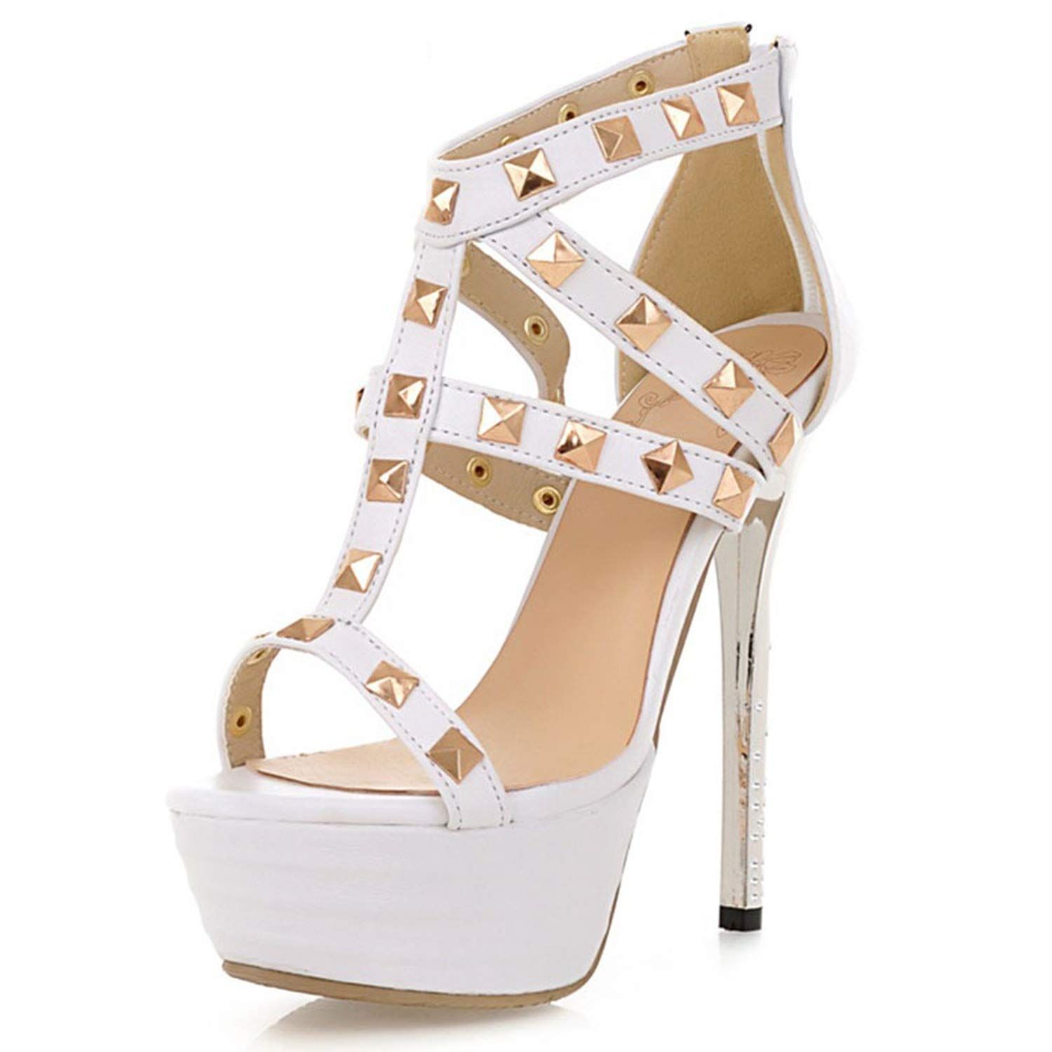 White Women High Heel Sandals Woman Hollow Out Party shoes Ladies