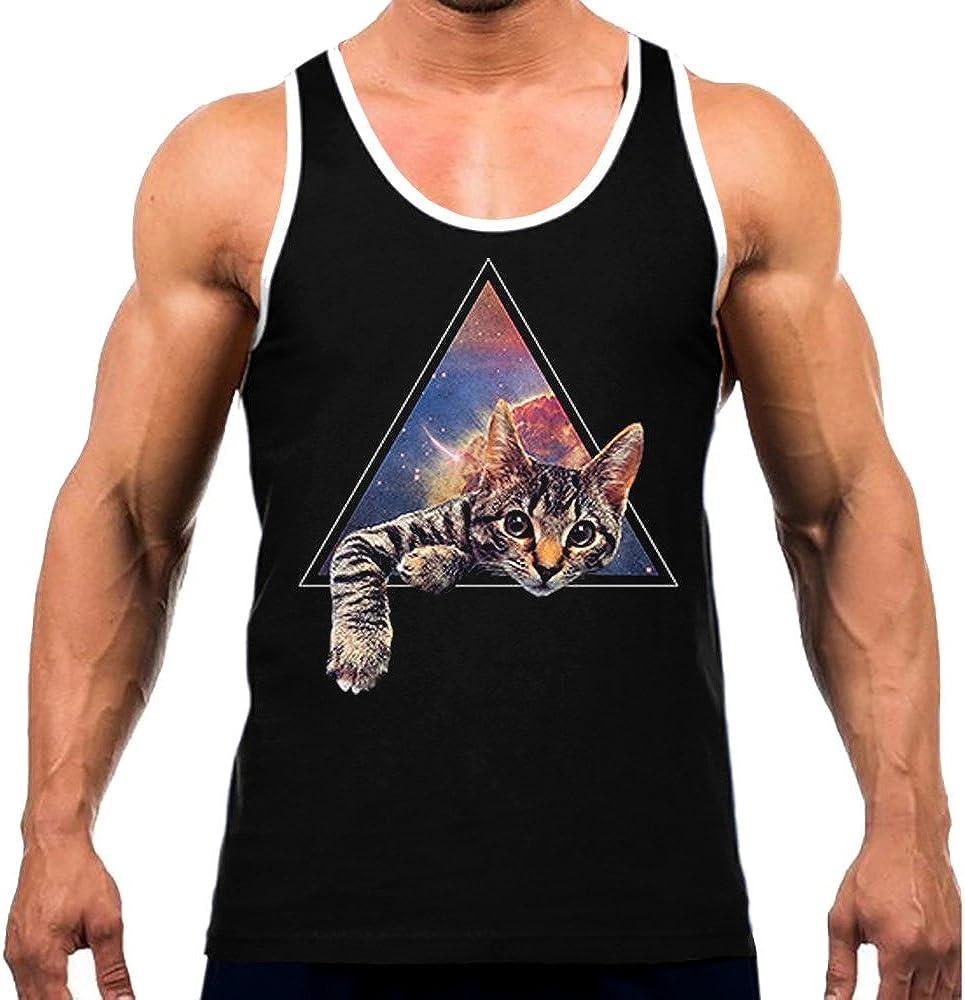 Interstate Apparel Mens Galactic Cat Tee White Trim Black Tank Top Black