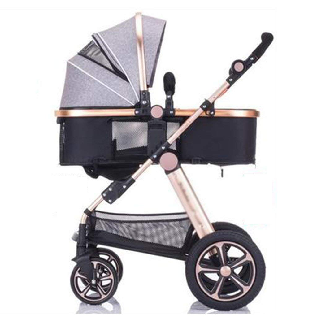 MAOSF Pushchairs Two Way Toddlers Strollers Four Rounds Newborn Prams fold Baby Pushchairs Suitable for 0-3 Years Old,Can sit and Lie Down,2 in 1 (Color : Gray)