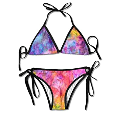 d765fc13d621 Rainbow Color Slim Fit Tie Side Laces Triangle Swimsuits Chic Bikini Set  for Girl s