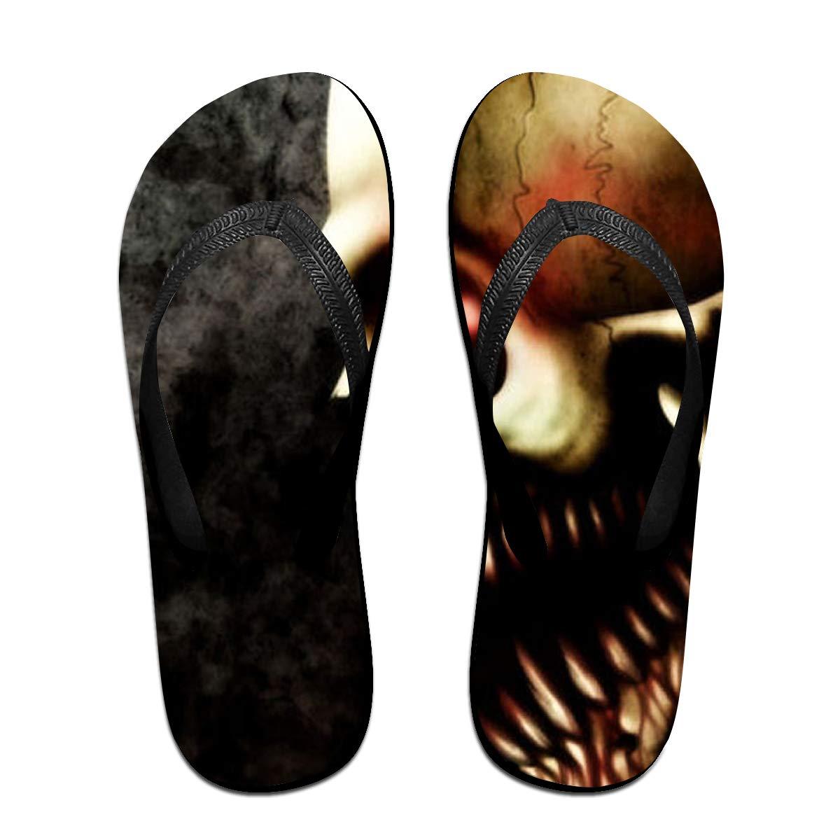 Couple Slipper Evil Skull Print Flip Flops Unisex Chic Sandals Rubber Non-Slip Beach Thong Slippers