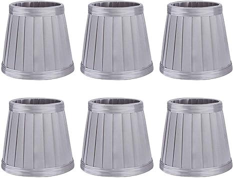 Cikonielf 6 Piezas de Tela de Tela para Dormitorio, Pantalla de lámpara, Pantalla para lámpara E14, lámpara de Pared, iluminación para el hogar, Gris Plateado: Amazon.es: Hogar