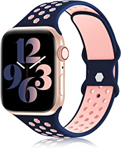 YAXIN Sports Band Compatible with Apple Watch Bands 38MM 40MM 42MM 44MM Women and Men,Breathable Soft Silicone Replacement Strap Double-color Air Holes Bands for iWatch Series 6 5 4 3 2 1 SE