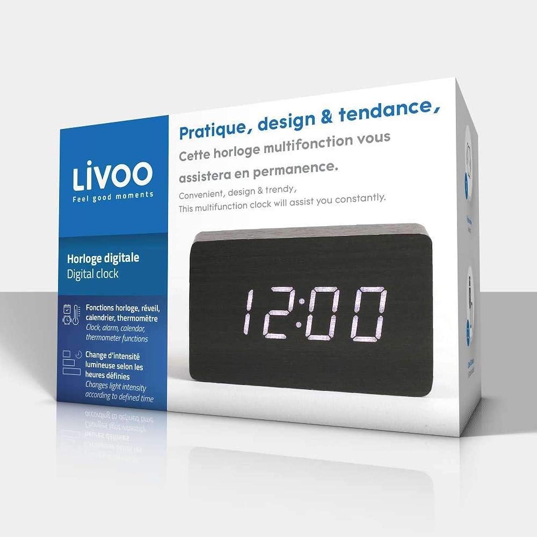 LIVOO Wecker Digital Holzoptik Weckfunktion Temperaturanzeige Datumsanzeige  (USB-Kabel, Tischuhr, Batteriebetrieben, Sound-Steuerungsmodus, Schwarz)