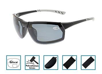 Gr8Sight Sun Lisez des lunettes de soleil de lecture bifocale Lunettes anti-éclaboussures UV400 anti-éclaboussures Wraparound Designer Style Sports Noir Cadre Gris Lentille +1.00 rR0P0fNz