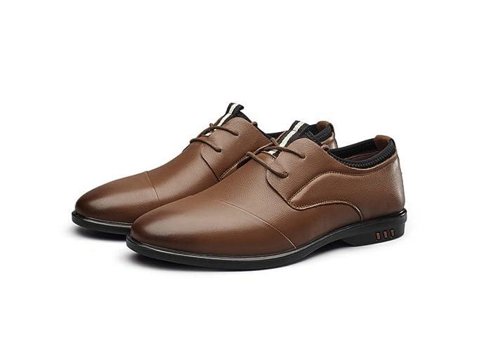 Hombre De Cuero Primavera Otoño Marrón Moda Negro Cómodo Bajo Superior  Informal Formal Derby Oxford Zapatos f3765c3eb818b
