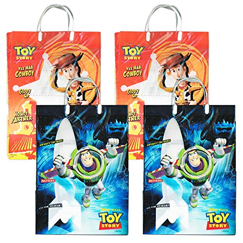 Disney Toy Story Reusable Tote Grocery Bag Value Pack ~ 4 Pack of Toy Story Tote Bags for Groceries and Gifting (Toy Story Merchandise)