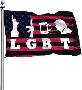CHUANtaotou LGBT Liberty Guns Beer Trump Banner Flags Garden Flag Home House Flags Outdoor Flag USA Flag 4x6 Ft