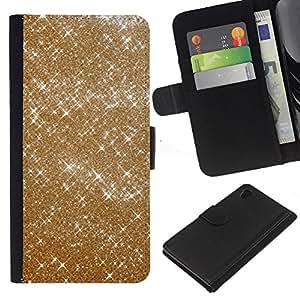 A-type (Sparkle Bright Bling Fashion Design) Colorida Impresión Funda Cuero Monedero Caja Bolsa Cubierta Caja Piel Card Slots Para Sony Xperia Z4v / Sony Xperia Z4 / E6508