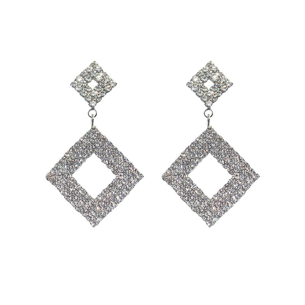 Simple Geometric Rhinestone Hypoallergenic Pendant Earring Personality S925 Sterling Stud Earrings