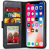 Cheap lopie [All-in-one Series iPhone X Wallet Case Flip Leather Folio Case Cover with Kickstand Feature Credit Card Slots and Magnetic Closure & Auto Sleep Wake Design for iPhone X/10 – Black