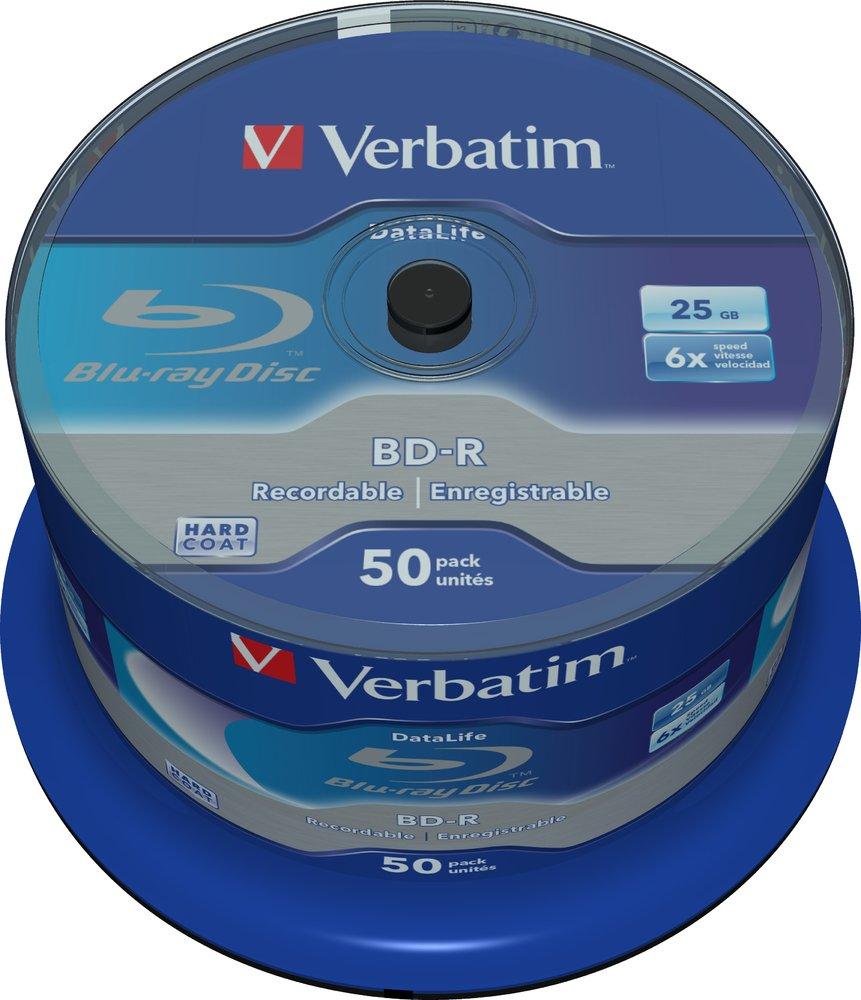 Verbatim 1x 50 BD-R Blu-Ray 25Gb 6X Speed DataLife No ID Cakebox ...