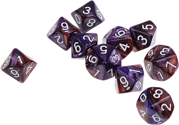 Gazechimp Set de 10 Piezas 8 Lados D8 Dados Poliédrico para Mazmorra y Dragones Juego de Mesa - Café púrpura: Amazon.es: Juguetes y juegos