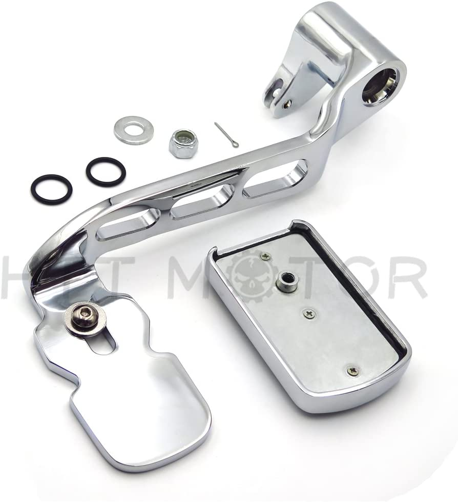 Chrome New Billet Rear Brake Lever Brake Pedal Foot Lever with Skull Foot Peg 3 Hollow-Out Compatible with 2014-later Touring Trike Road King Street Glide CVO Tri Glide FLHR HTTMT MT280-016-216-052