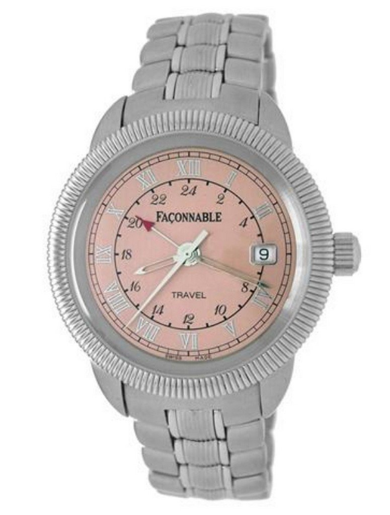 Faconnable Stainless-Steel Travel Watch with Pink Dial