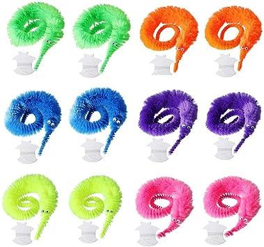 Amasawa 12 Piezas Juguete de Gusano M/ágico,Juguetes de Gusano M/ágico Wiggly,Aplicar a Favores de Fiesta de Carnaval Juguetes para Ni/ños y Gatos 6 Colores