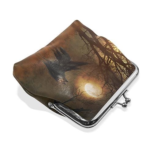 Amazon.com: Monedero de lobo antiguo árbol luna cartera ...