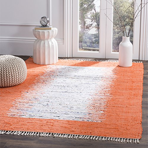 Safavieh Montauk Collection MTK711C Handmade Flatweave Ivory and Orange Cotton Area Rug (3' x 5') - Ivory Cotton Rug