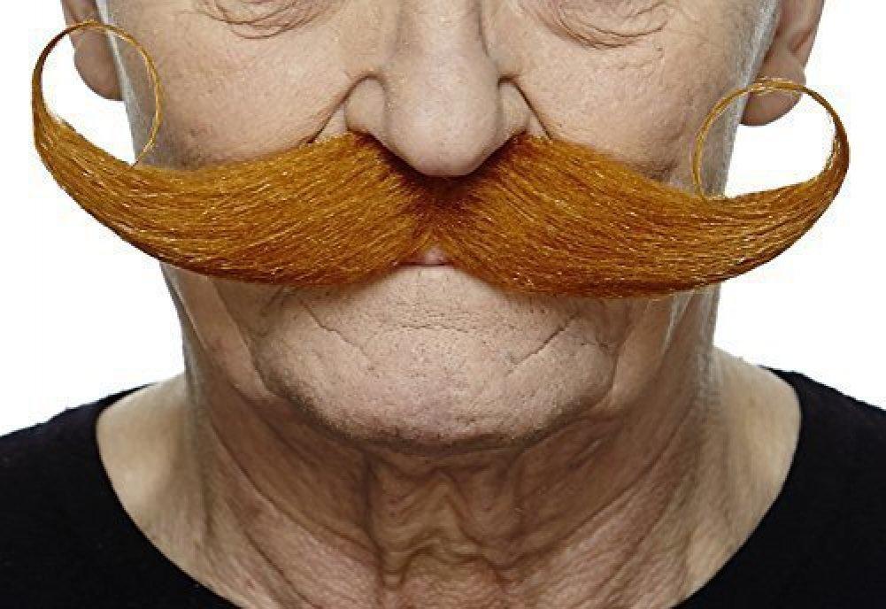 Mustaches Selbstklebende Fälscher Schnurrbart Neuheit Capt' Hook Falsch Gesichtsbehaarung Kostümzubehör für Erwachsene Ingwer Farbe
