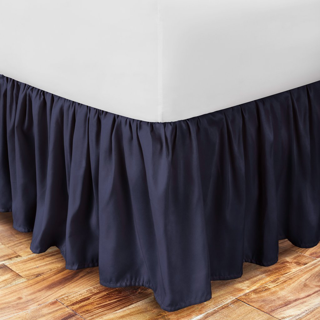 Ultra Soft Ruffled Bed Skirt - Premium Eco-friendly, Hypoallergenic & Wrinkle Resistant Rayon Derived from Bamboo Dust Ruffle with 15'' Drop  - Full - Navy