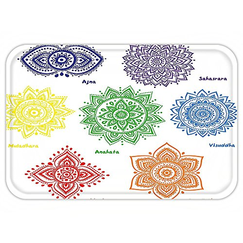 Different Costumes Of Asian Countries (VROSELV Custom Door MatChakra Decor Collection of Symbolin Different Colorwith Ornate Round Mandala Asian Print Multi)