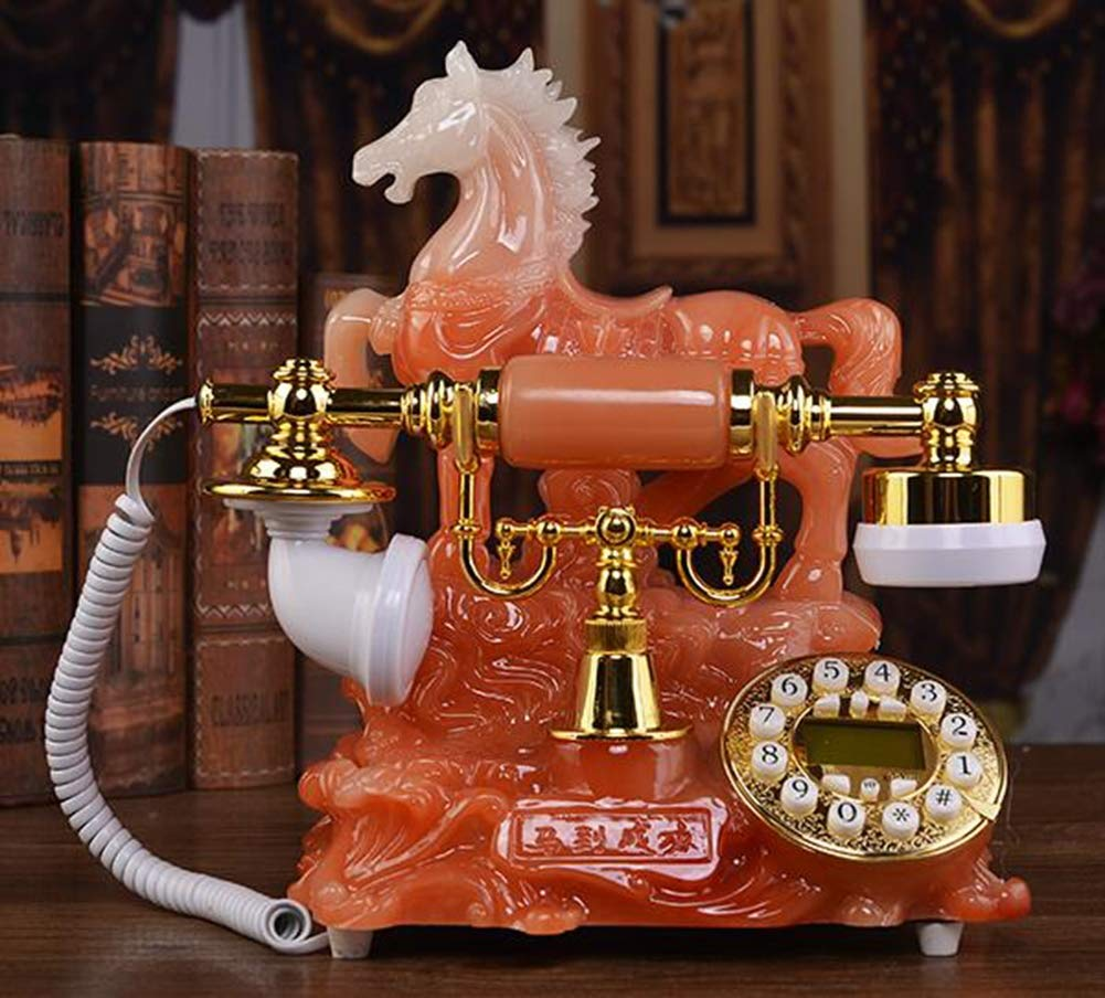 Antique European Style Horse to Successful Telephone Retro Style Fashion Garden Creative Home Landline,Orange by Telephone