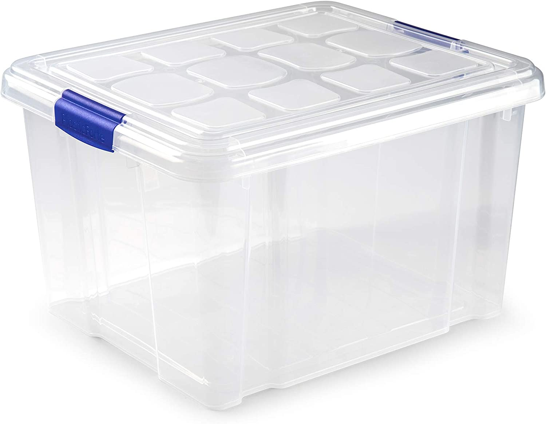 Plastic Forte Caja de Almacenamiento Nº2, 42 x 36 x 25 cm, 25 litros, Cierre de Clip |, Multicolor, Talla Unica