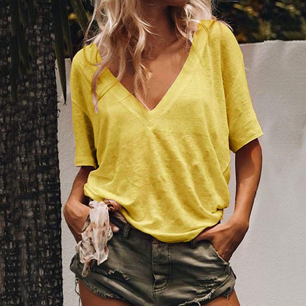 Sanyyanlsy Womens Loose Casual Solid Color V-Neck Short-Sleeved Shirt Summer T-Shirt Low-Cut Blouse Tank Tops Vest