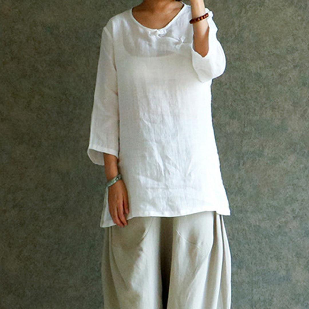 Women Clothing LILICAT Women Chinese Style Cheongsam Ladies Elegant Solid Cotton Linen Blouse Tops T-Shirts Plus Size Casual Loose Long Blouse Shirt Summer Autumn