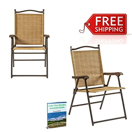 amazon com sling patio chairs tan set of 2 clearance mesh folding