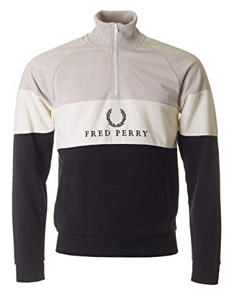 Fred Perry Embroidered Panel Sweatshirt Black, Sudadera - S: Amazon.es: Ropa y accesorios