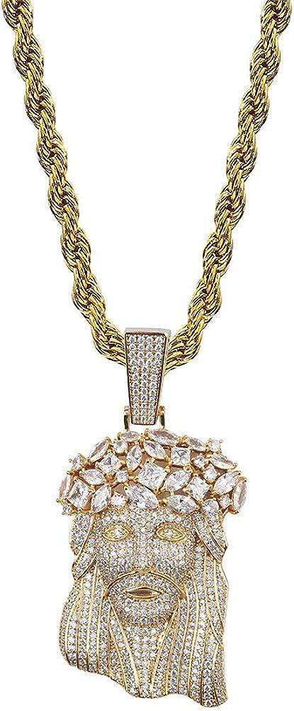 "Mens 14K Gold Finish BAGUETTE BIG STONES 20""Chain"