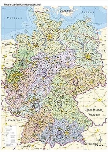Postleitzahlenkarte Deutschland Mit Bundeslandern Din A0 Massstab