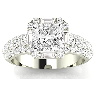 3d80bc2089f1 ... Cushion-Cut 14K White Gold Designer Popular Halo Style Baguette and  Pave Set Round Diamond Engagement Ring (D-E Color VVS1-VVS2 Clarity Center  Stones) ...