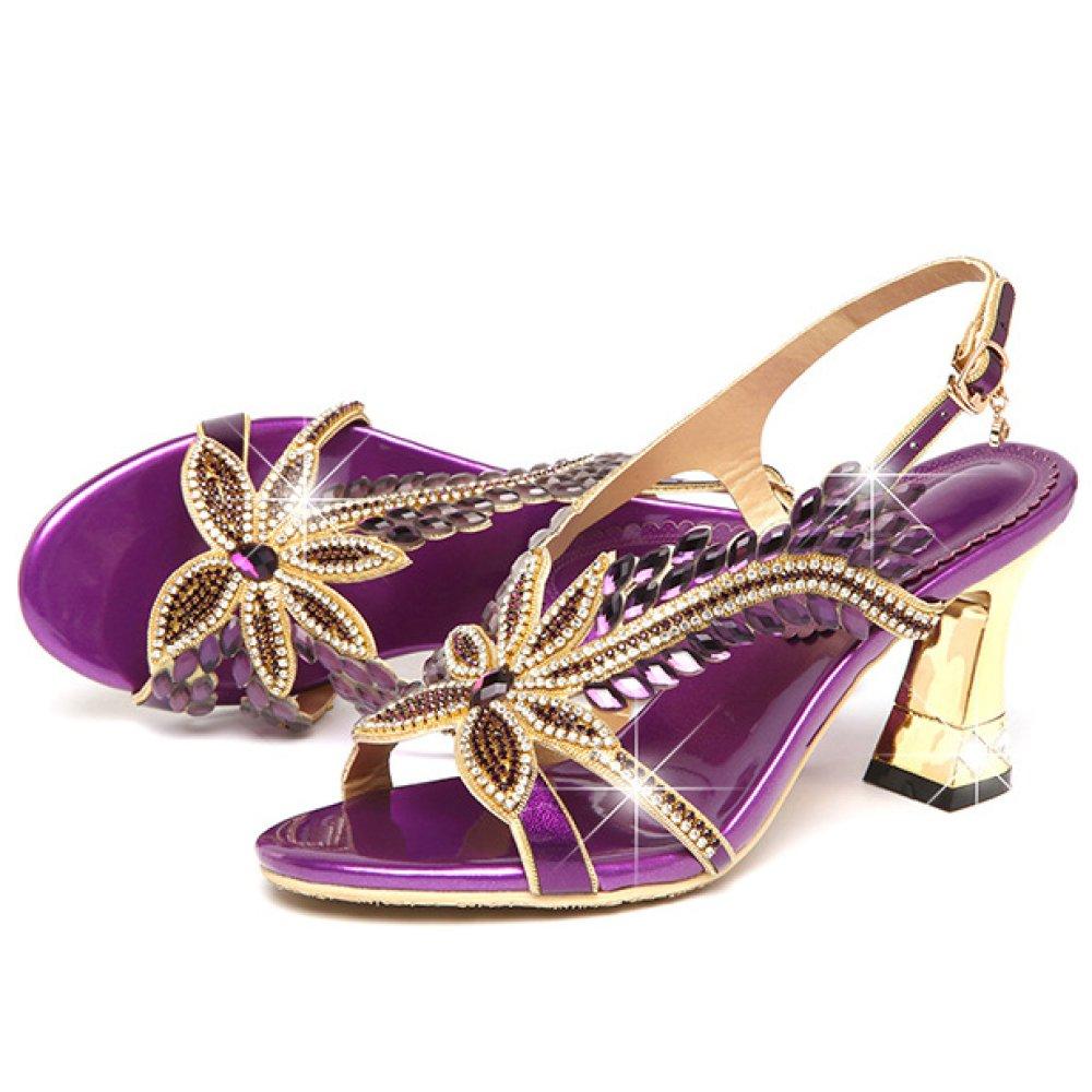 Femmes Open Toe Block High Heels Heels Strass Chaussures Open Slingback 19722 Straps De Mariage Prom Party Chaussures De Mariée Purple 18afa52 - gis9ma7le.space