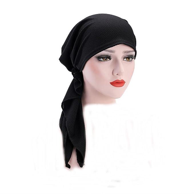 4fb7419db6a NetEra Scarf Elastic Head Scarves Pre-Tied Headwear Chemo Hat Turban Head  Wear for Cancer