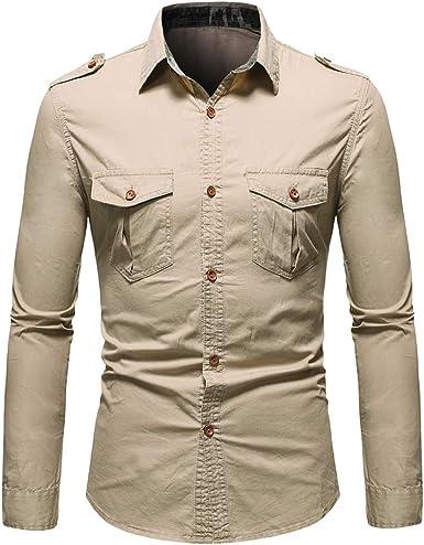 LAYAN-B Camisa de manga larga Slim Fit Casual Botón Ropa de ...
