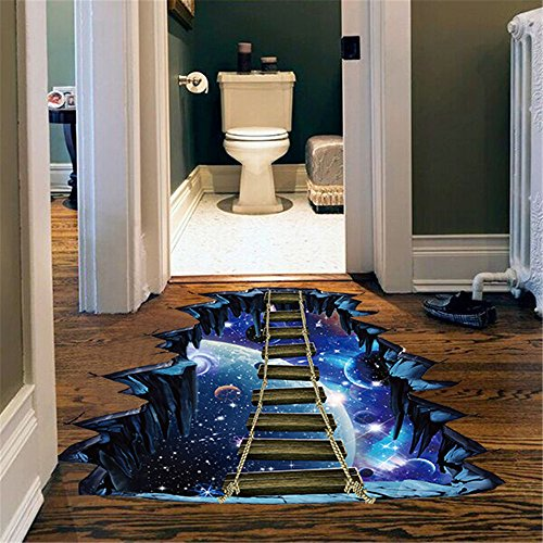 Fine 3D Star Series Floor Wall Sticker Removable Mural Decals Vinyl Art Room Decor Boys Room Kids Bedroom Nursery School (Blue)