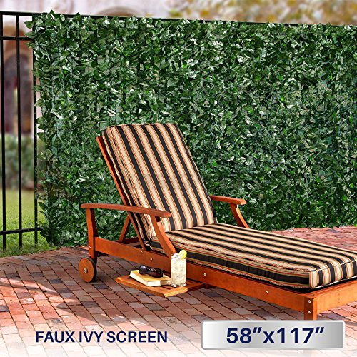 Windscreen4less Artificial Faux Ivy Leaf Decorative Fence Screen 58.5'' x 117'' Ivy Leaf Decorative Fence Screen by Windscreen4less
