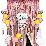 Bachelorette Party Decorations, HOMOR 60Pcs Rose Gold Bridal Shower Kit, Bride and Ring Foil, 2 Metallic Foil Fringe Curtains, Heart Foil and Latex Balloons, Bride to Be Sash and Veil, Gold Tattoos