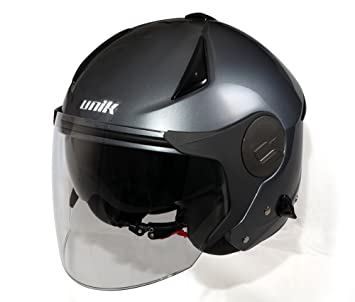 Amazon.es: UNIK - UH001 Casco Jet Color Titanio con Pantalla ...