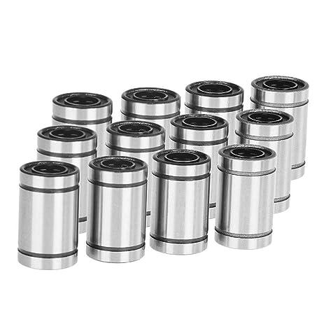 12 piezas LM8UU 8 mm Linear rodamientos de bolas de acero ...