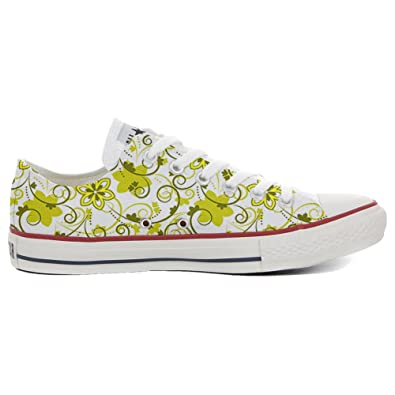 Converse Custom Slim personalisierte Schuhe (Handwerk Produkt) White Green Paisley 1  41 EU