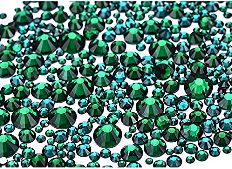 GREEN 4mm ACRYLIC FLAT BACK RHINESTONES DIAMANTE GEMS FOR NAIL ART CRAFTS