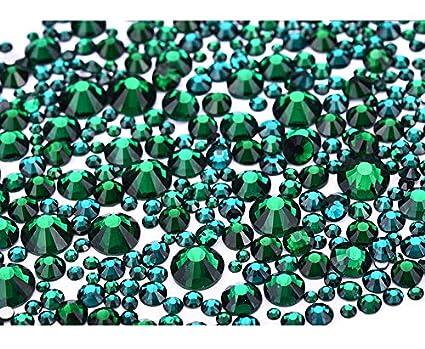Jollin 3456 Piezas del Strass Abalorios Cristal Vidrio pedrer/ía Espalda Planas Gemas Diamantes Para U/ñas Arte 6 Tama/ño S4~S12 Lt Siam AB