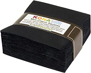 "Black Kona Solids Mini Charm Pack; 84 100% Cotton 2.5"" Precut Fabric Quilt Squares"