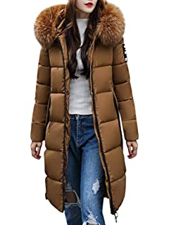 Tomwell Abrigo Plumas de Cremallera Acolchado Chaqueta Largo con Capucha de Larga para Mujer Invierno Chaqueta